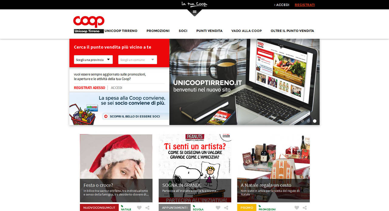 Home page portale Unicoop Tirreno