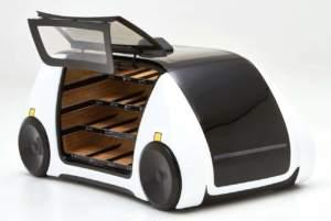 Il prototipo di Robomart, con gli scomparti per i prodotti freschi