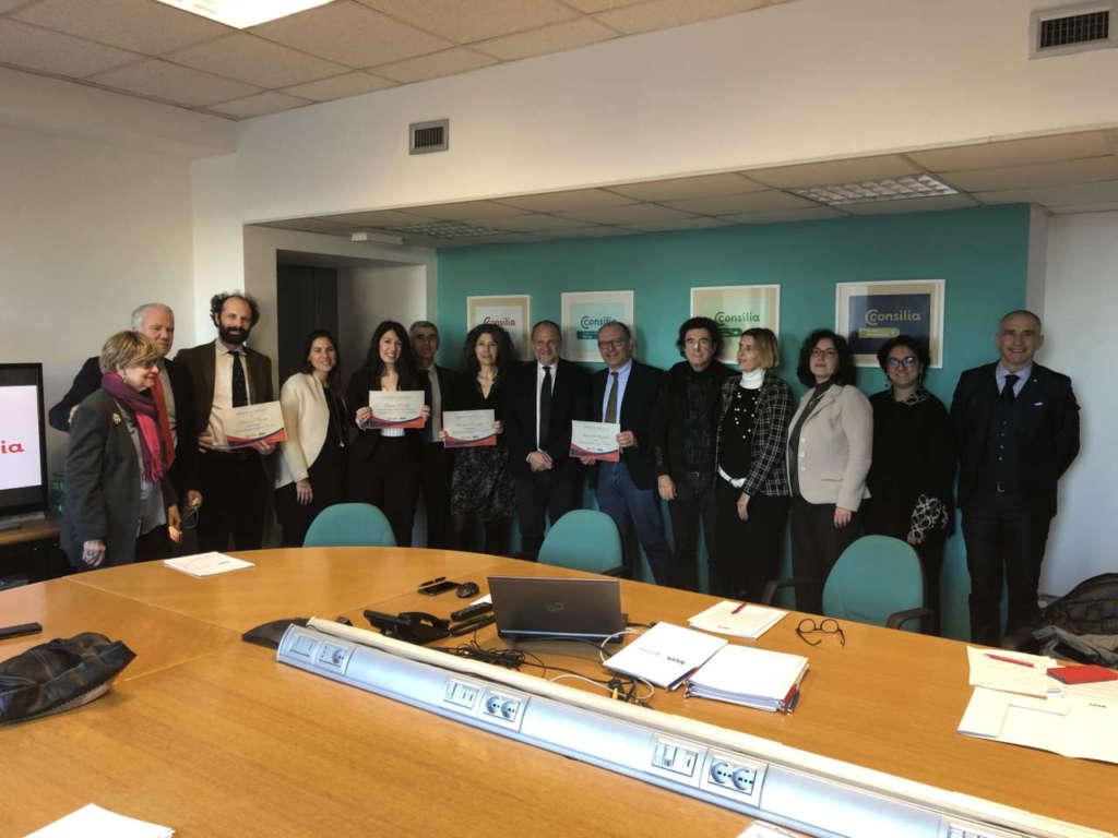 Un momento della conferenza stampa del Consorzio Sun con i vincitori del Premio Consilia